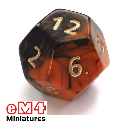 Jumbo Oblivion D12 poly dice-Orange