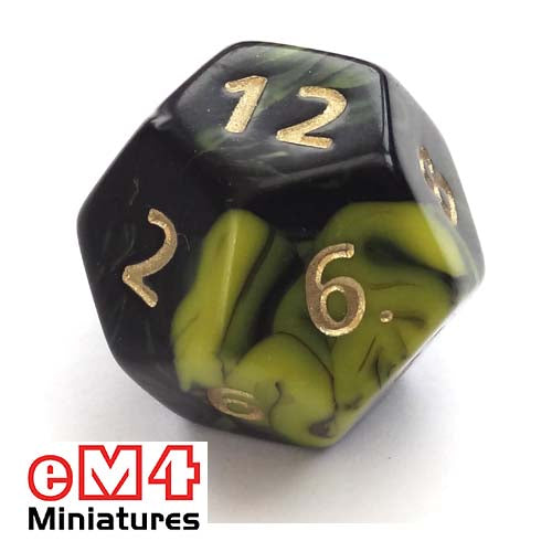 Jumbo Oblivion D12 poly dice-Yellow