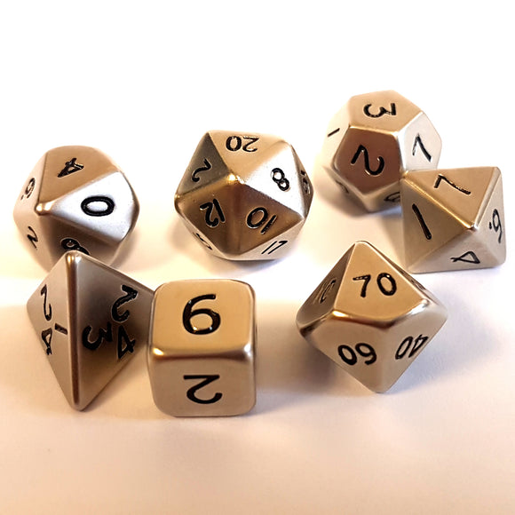 Mini Metal Poly Dice - Brushed Steel