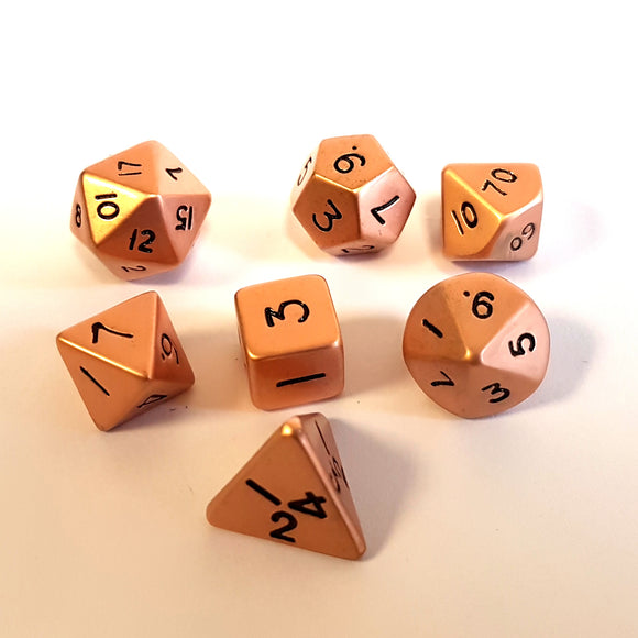 Mini Metal Poly Dice - Copper