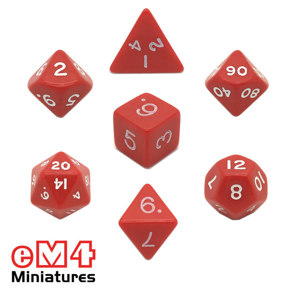 Opaque Red 7 Poly Dice Set