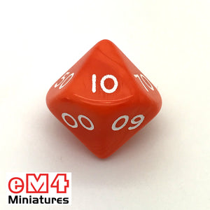 Opaque Orange D10 (00-90) Poly Dice