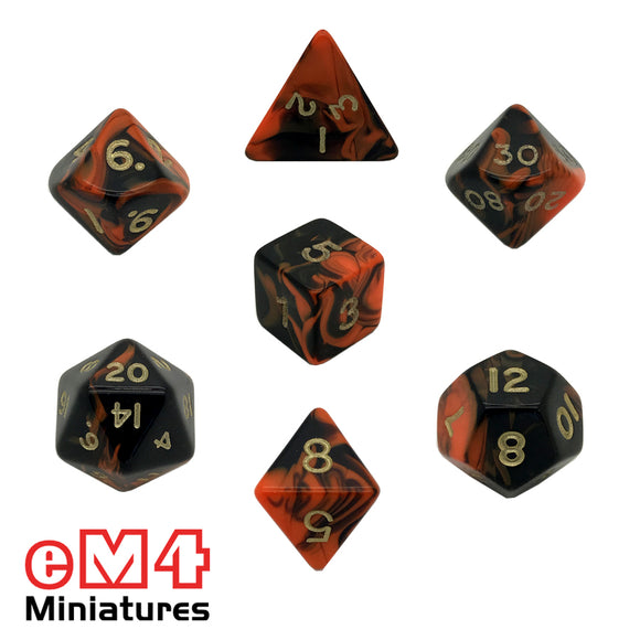 Oblivion Orange 7 Dice Poly Set