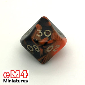 Oblivion Orange D10 (00-90) Poly Dice