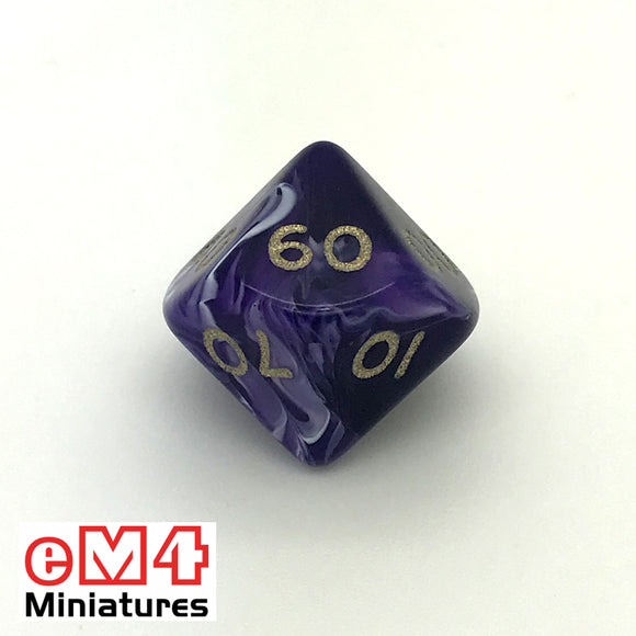 Marble Purple D10 (00-90) Poly Dice