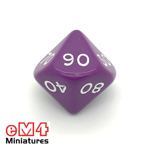 Opaque Purple D10 Percentile Poly Dice