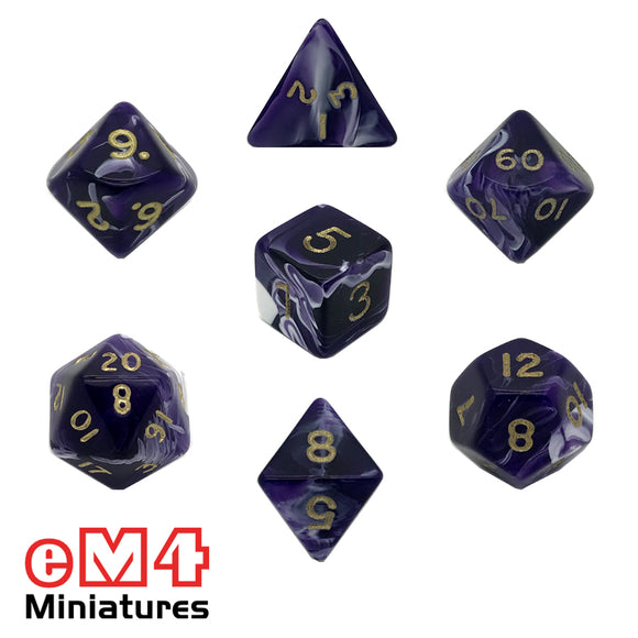 Marble Purple 7 Dice Poly Set