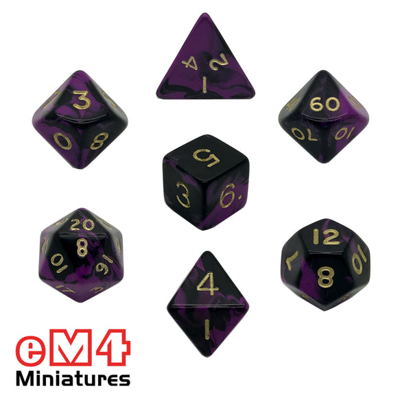 Oblivion Purple 7 Dice Poly Set