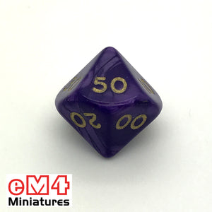 Pearl Purple D10 (00-90) Poly Dice