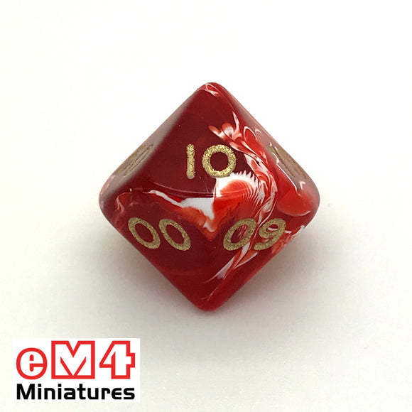 Marble Red D10 (00-90) Poly Dice