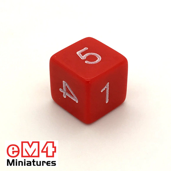 Opaque Red D6 Poly Dice