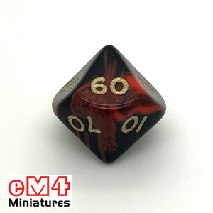 Oblivion Red D10 (00-90) Poly Dice