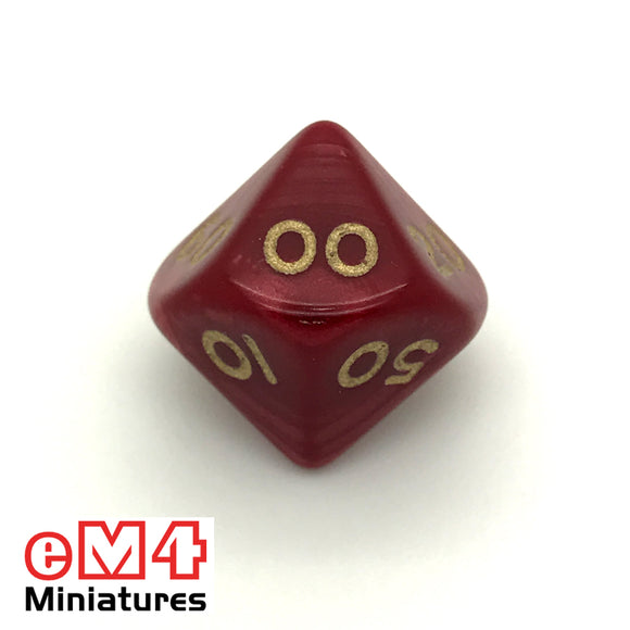 Pearl Red D10 (00-90) Poly Dice