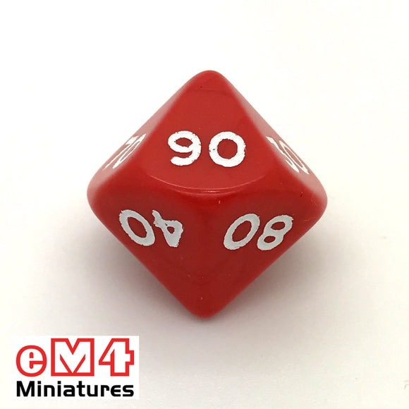 Opaque Red D10 Percentile Poly Dice