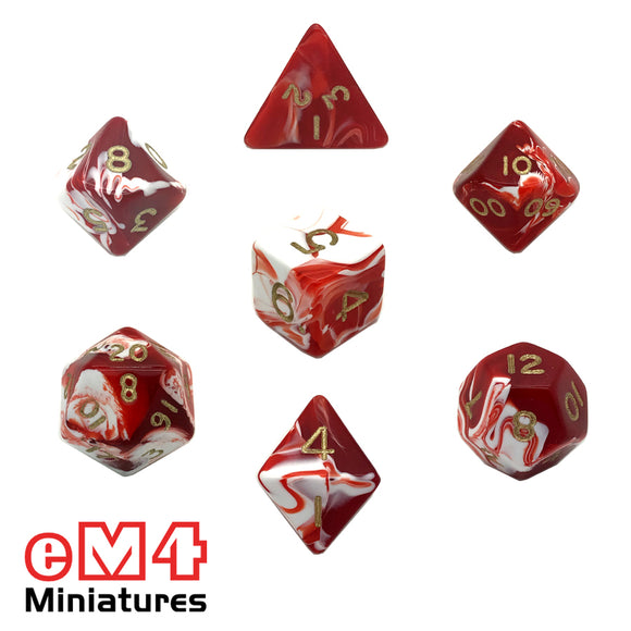 Marble Red 7 Dice Poly Set