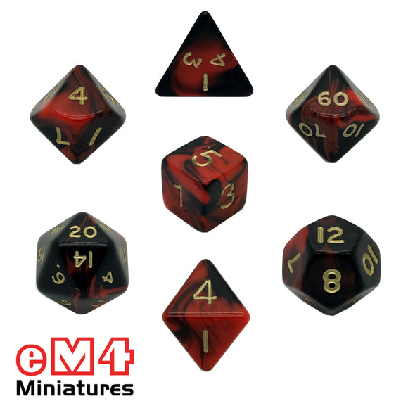 Oblivion Red 7 Dice Poly Set