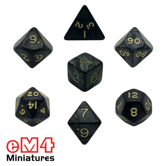 Pearl Black 7 Dice Poly Set