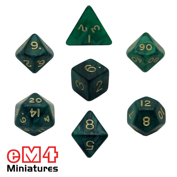 Pearl Green 7 Dice Poly Set