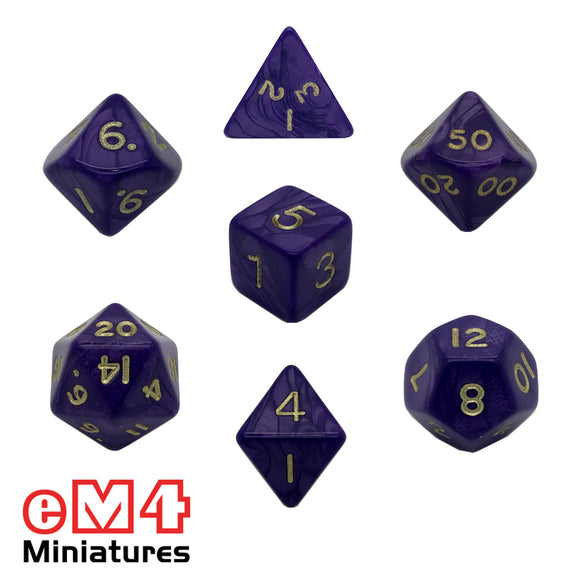 Pearl Purple 7 Dice Poly Set