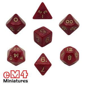Pearl Red 7 Dice Poly Set