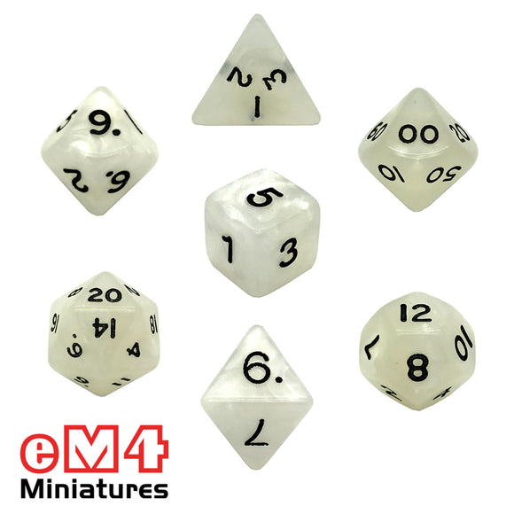 Pearl White 7 Set Poly Dice
