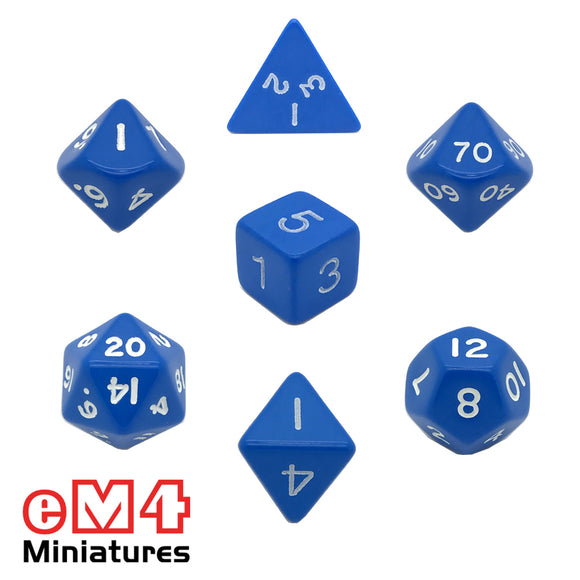 Opaque Blue 7 Dice Poly Set
