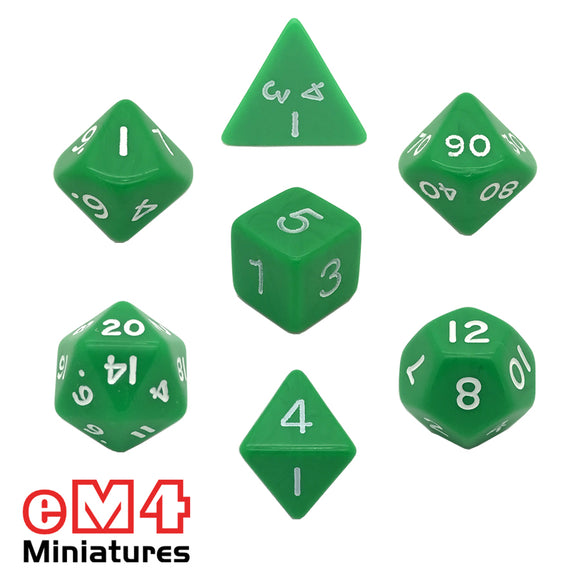 Opaque Green 7 Dice Poly Set