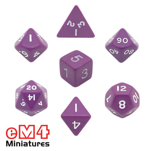 Opaque Purple Poly Dice Set