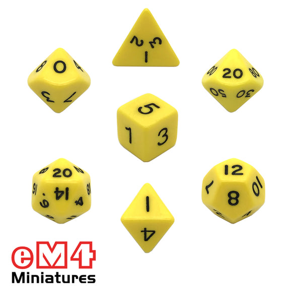 Opaque Yellow 7 Dice Poly Set