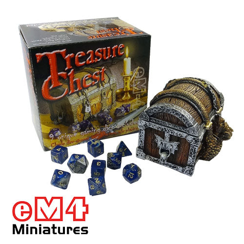 Treasure Chest containing set of 9 unique polydice