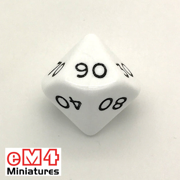 Opaque White D10 (00-90) Poly Dice