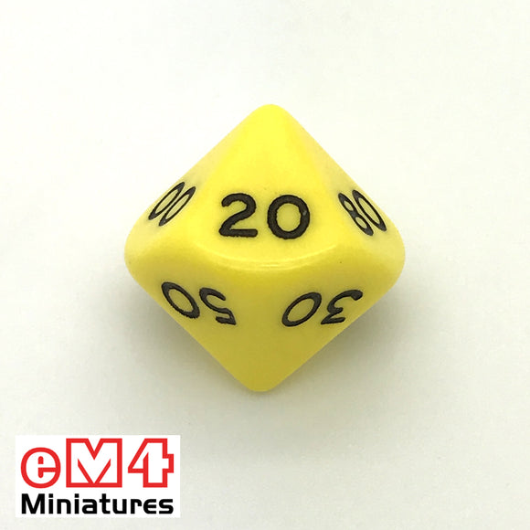 Opaque Yellow D10 (00-90) Poly Dice