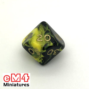 Oblivion Yellow D10 (00-90) Poly Dice