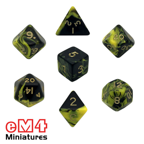 Oblivion Yellow 7 Dice Poly Set