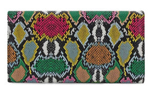 Multi Colored Snake Skin Clutch
