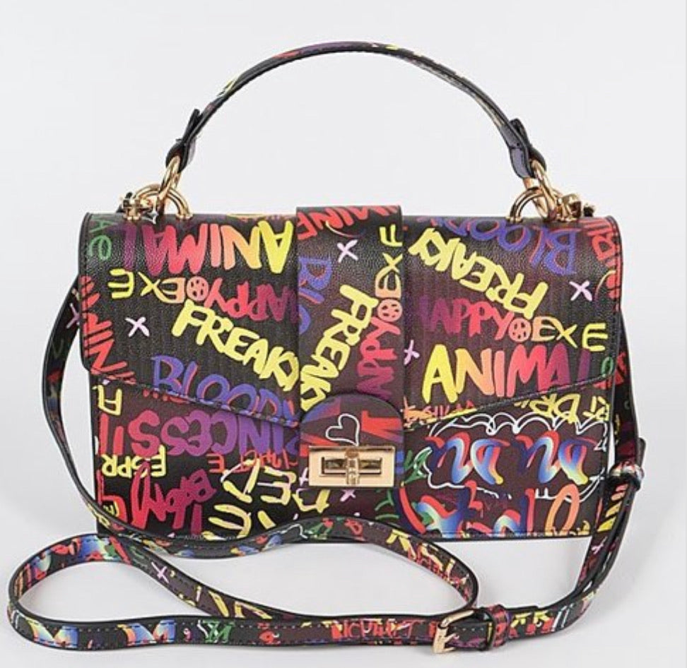 Chrissy Graffiti Handle Clutch