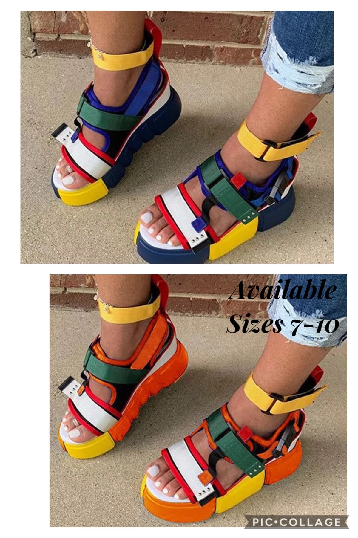 Color Block Stacked Sandals