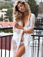 Multiple Wearing White Lace Kimono Cardigan