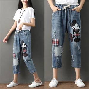Large size comfortable elastic waist denim pants