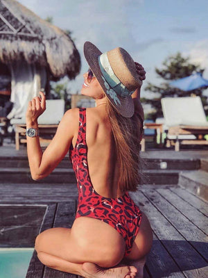 Leopard Print Backless One Piece Bikini
