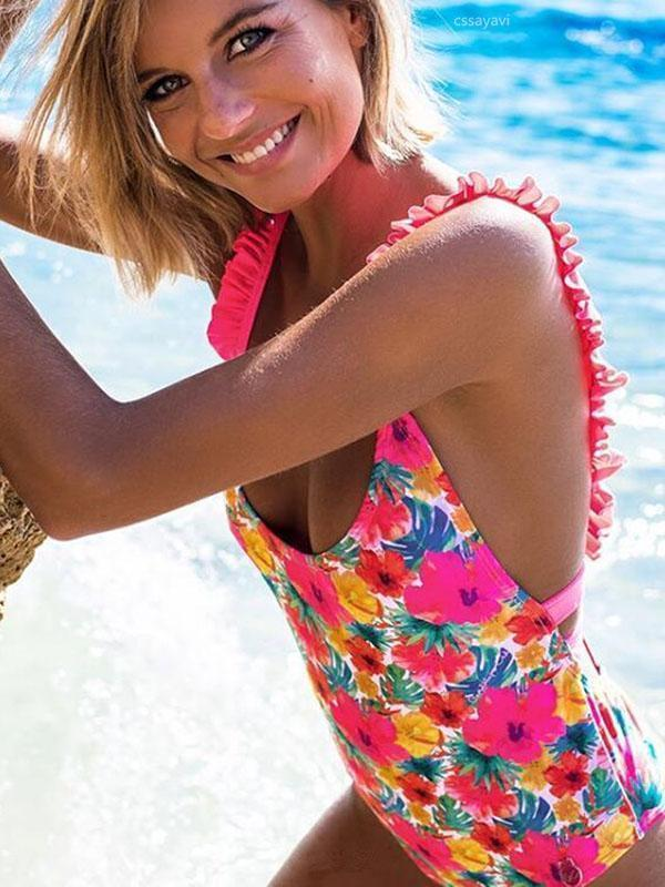 One Pieces Ruffled Print Swimsuit