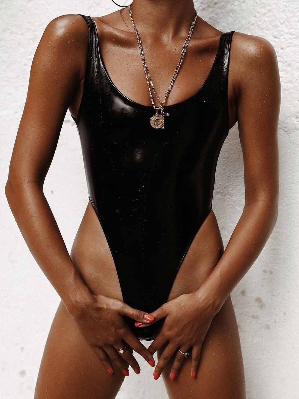 Sexy PU Leather One-Piece Swimwear
