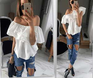 Off-the-shoulder ruffled blouse