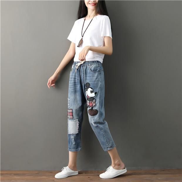 Large size comfortable elastic waist denim pants 1