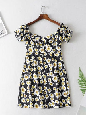 Off-The-Shoulder Printing Dress
