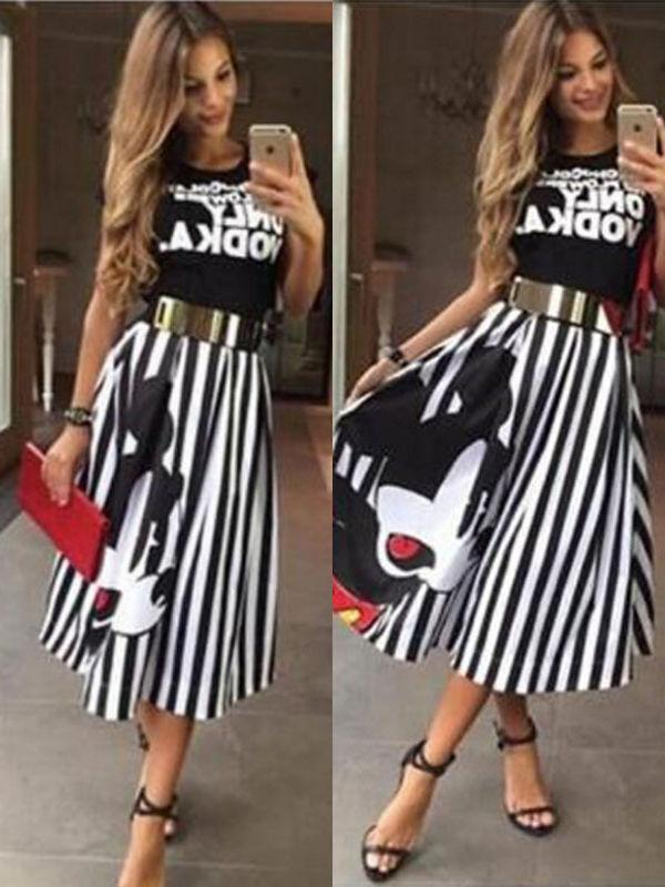 Mickey printing mid-length skirt