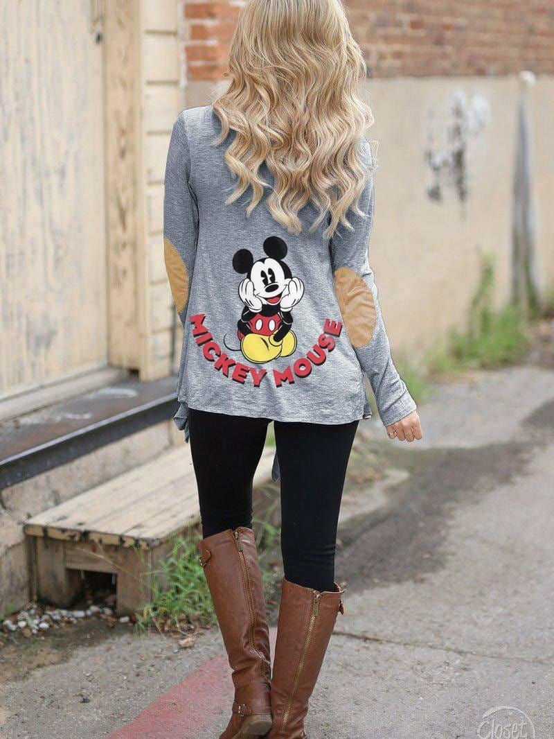 Women's  Mickey Mouse Print Panel Cardigan