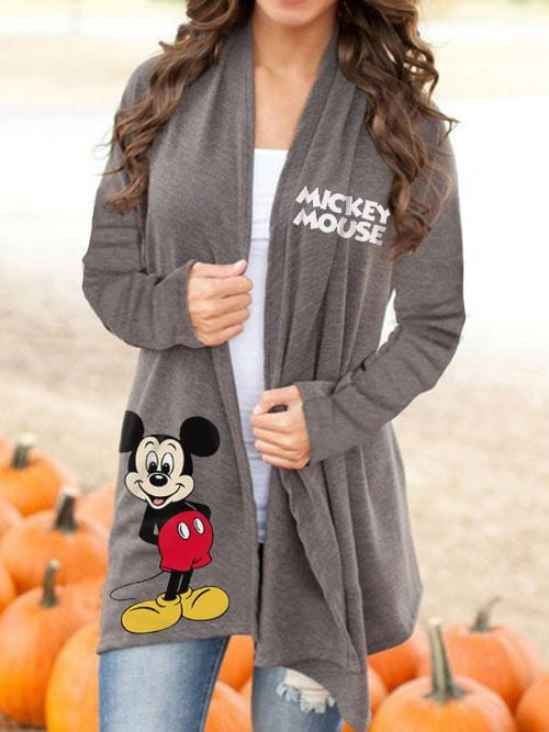 Women Mickey Mouse Gray Cardigan Coat