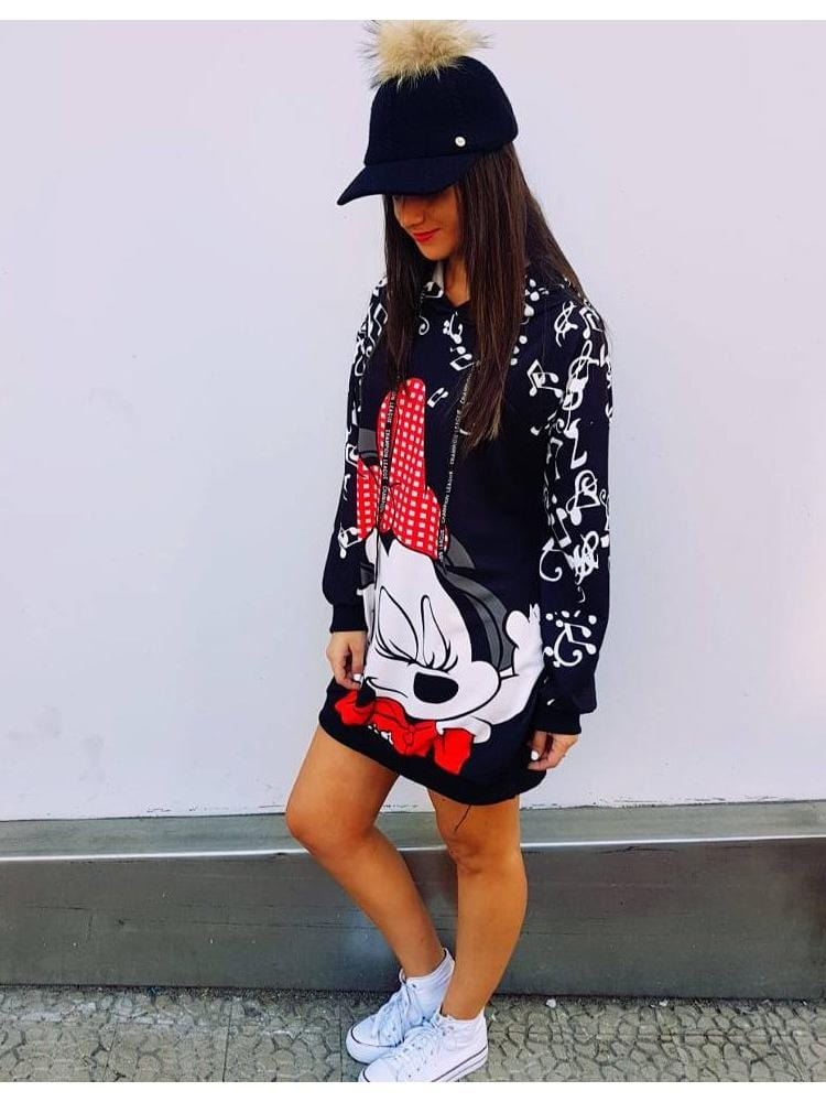 Women Mickey Mouse Long Sleeve One-Piece Dress
