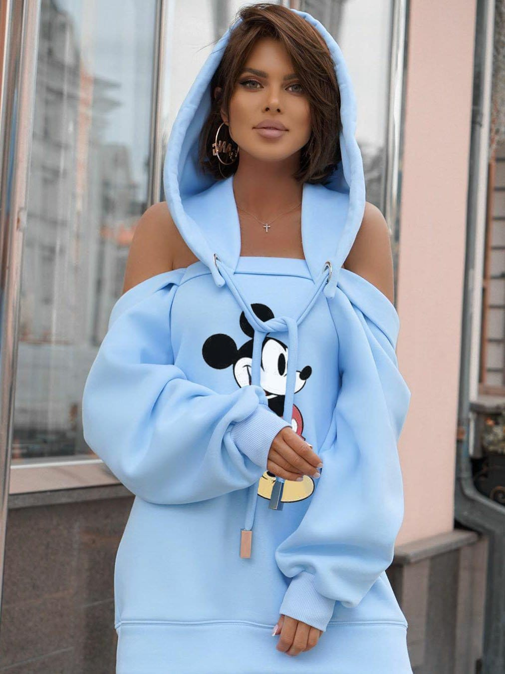 Mickey Mouse Off-The-Shoulder Hooded Individuality Hoodie One-Piece Dress